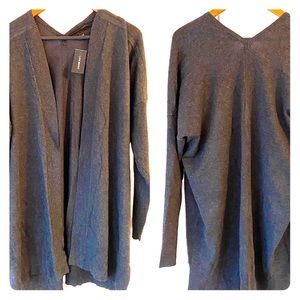 NWT LANE BRYANT Grey Open Front Tunic Cardigan